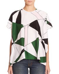 Junya Watanabe Printed Cotton Jersey Top multicolor - Lyst