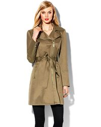 Vince Camuto Zipperbelted Trench Coat - Lyst