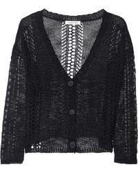 Elizabeth And James Open-knit Linen-blend Cardigan - Lyst
