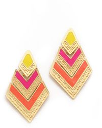 Adia Kibur Arrow Drop Earrings Pink Multi - Lyst