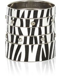 River Island Black and White Zebra Print Bangle Pack - Lyst