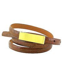 Leighelena - Single Cognac Lizard Licorice Belt - Lyst
