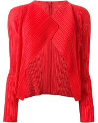 Pleats Please Issey Miyake Cropped Pleated Jacket - Lyst