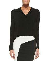 Donna Karan New York Long-sleeve Cropped Silk Blouse - Lyst