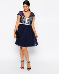 Asos Curve Scalloped Lace Skater Dress - Lyst