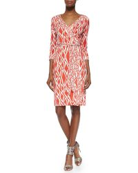 Diane von Furstenberg New Julian Ikat-Print Wrap Dress - Lyst