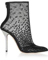 Oscar de la Renta Camille Embellished Mesh Ankle Boots - Lyst