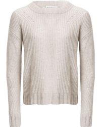 White + Warren - Directional Rib Tweed Crew-neck Sweater - Lyst