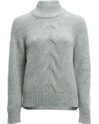 White + Warren - Center Cable Standneck Sweater - Lyst