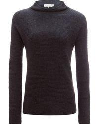 White + Warren - Horizontal Rib Standneck Sweater - Lyst