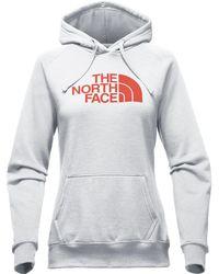 The North Face - Women Half Dome Hoodie, Light Grey Heather/ Bossa Nova Red - Lyst