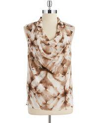Calvin Klein Drape Front Blouse - Lyst