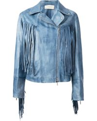 Wunderkind Blue Fringed Jacket - Lyst