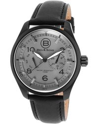 Ben Minkoff - Marshall Multi-function Black Genuine Leather Grey Dial Black Ip Ss - Lyst