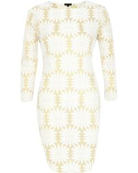 River Island Gold Floral Bodycon Dress - Lyst