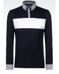 Armani Jeans Polo Shirt In Cotton Jersey blue - Lyst