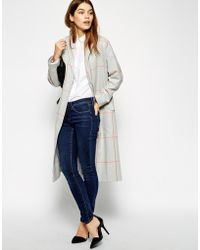 Asos Duster Coat In Check - Lyst