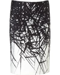 Yigal Azrouël Branch Print Scuba Pencil Skirt - Lyst