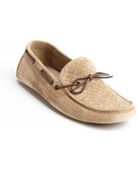 Bottega Veneta Walnut Intrecciato Suede Boat Stitched Slip On Driving Shoes - Lyst