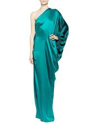 Lanvin One-Shoulder Silk Satin Gown - Lyst