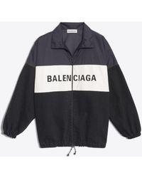 Balenciaga - Nylon Logo Denim Jacket - Lyst