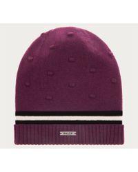 Bally - Textured Dot Beanie Hat Women ́s Knitted Hat In Plum - Lyst
