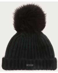 Bally - Pom Pom Beanie Women ́s Knitted Hat In Leaf Green - Lyst