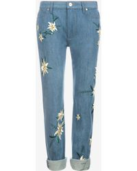 Bally - Embroidered Swiss Flower Jeans - Lyst