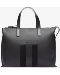 Bally - Bivios Men ́s Leather Stripe Business Bag In Charcoal - Lyst