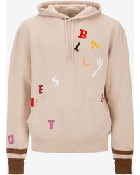 Bally - Letter Embroidered Hooded Jumper - Lyst