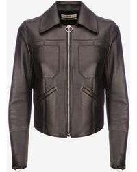Bally - Leather Fitted Trucker Jacket - Lyst