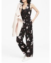 491322a7852 Banana Republic - Floral V-neck Wide-leg Jumpsuit - Lyst