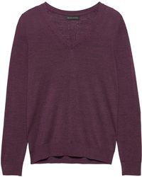 30e5c7c24f5 Lyst - Banana Republic Machine-washable Merino V-neck Sweater in Purple