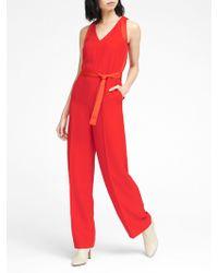 87f9da80c54 Banana Republic - Petite V-neck Tie-waist Jumpsuit - Lyst