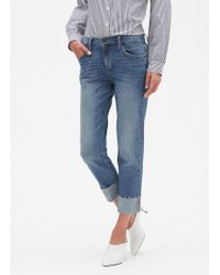 Banana Republic Factory - Raw Hem Medium Wash Cuffed Girlfriend Jean - Lyst