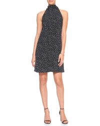 Banana Republic Factory - Petite Print Tie Neck Shift Dress - Lyst