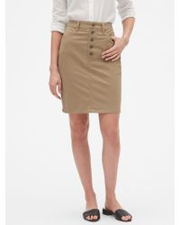 21718c7afa Banana Republic Factory - Chino Button Through Pencil Skirt - Lyst