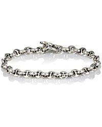 Hoorsenbuhs - Diamond & Silver 'h' Chain-link Bracelet - Lyst