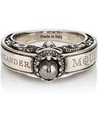 Alexander McQueen - Engraved Skull Ring - Lyst