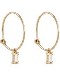 Ileana Makri - Baguette White Diamond Hoop Earrings - Lyst