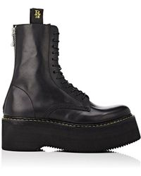 R13   Double Stacked Leather Boots   Lyst