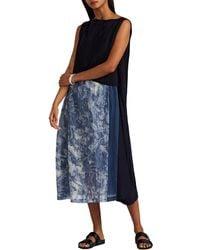Pas De Calais - Patchwork Ramie & Striped Floral Silk Voile Shift Dress - Lyst