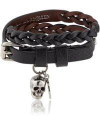 Alexander McQueen - Studded Leather Double-wrap Bracelet - Lyst