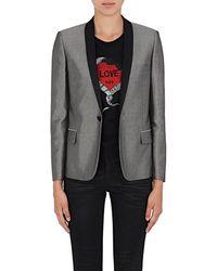 Saint Laurent - Satin-collar Metallic Tuxedo Jacket - Lyst