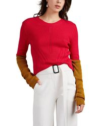 Cedric Charlier - Colorblocked Cotton Sweater - Lyst