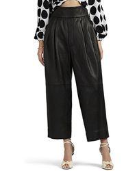 Marc Jacobs - Pleated Leather High-rise Trousers - Lyst
