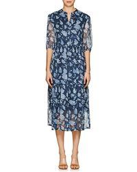 Raquel Allegra - Floral Silk Tiered Midi-dress - Lyst