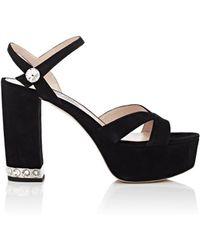 9151188c017 Miu Miu - Crystal-inset Suede Platform Sandals - Lyst