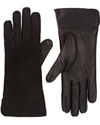 Barneys New York Suede & Nappa Leather Gloves - Black