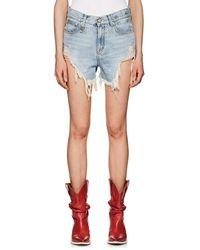 R13 - Shredded Slouch Denim Shorts - Lyst
